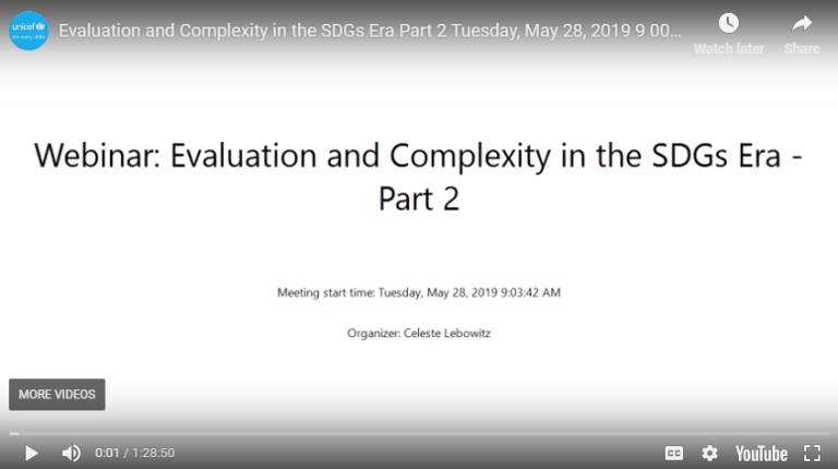 Evaluation and Complexity in the SDGs era – PART II was held on