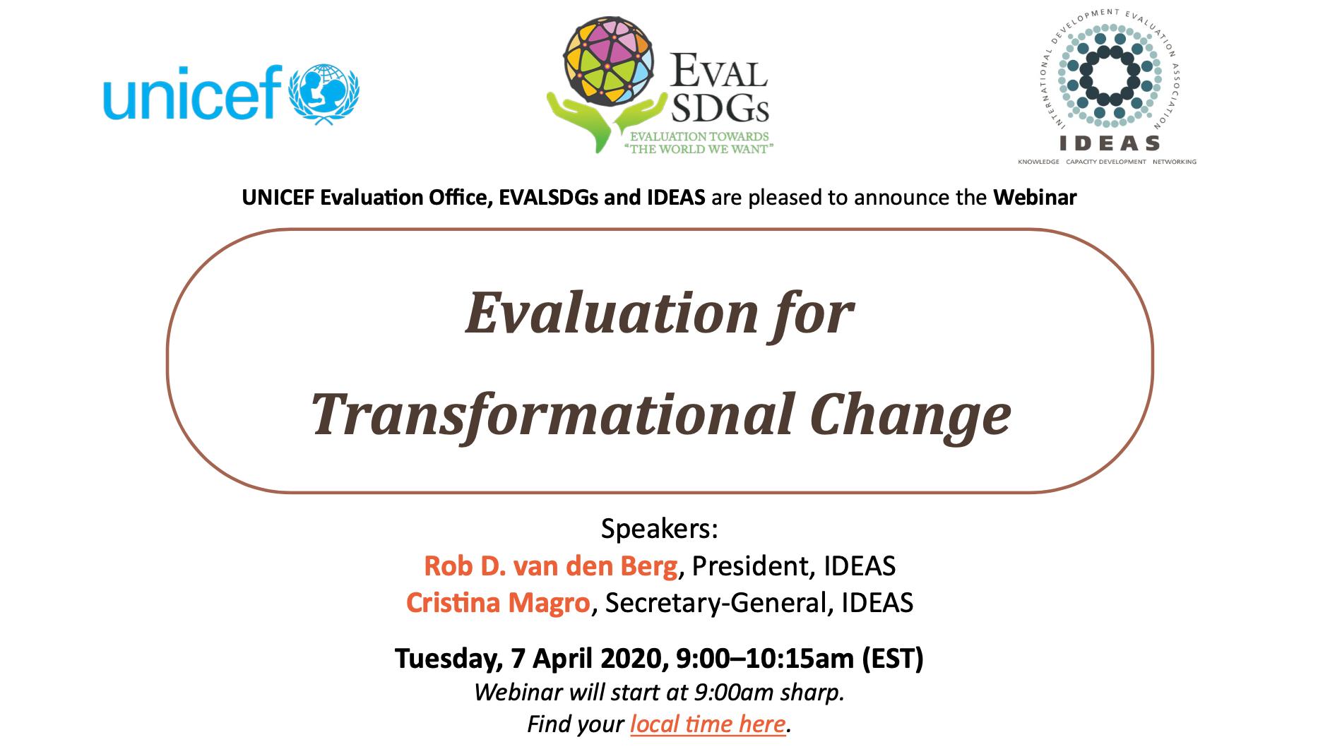 Webinar: Evaluation for Transformational Change