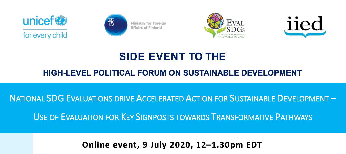 HLPF 2020 Side Event: SDGs Evaluations towards Transformative Pathways