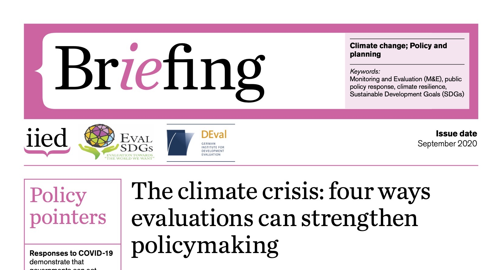 Briefing Paper 13 – The climate crisis: four ways evaluations can strengthen policymaking