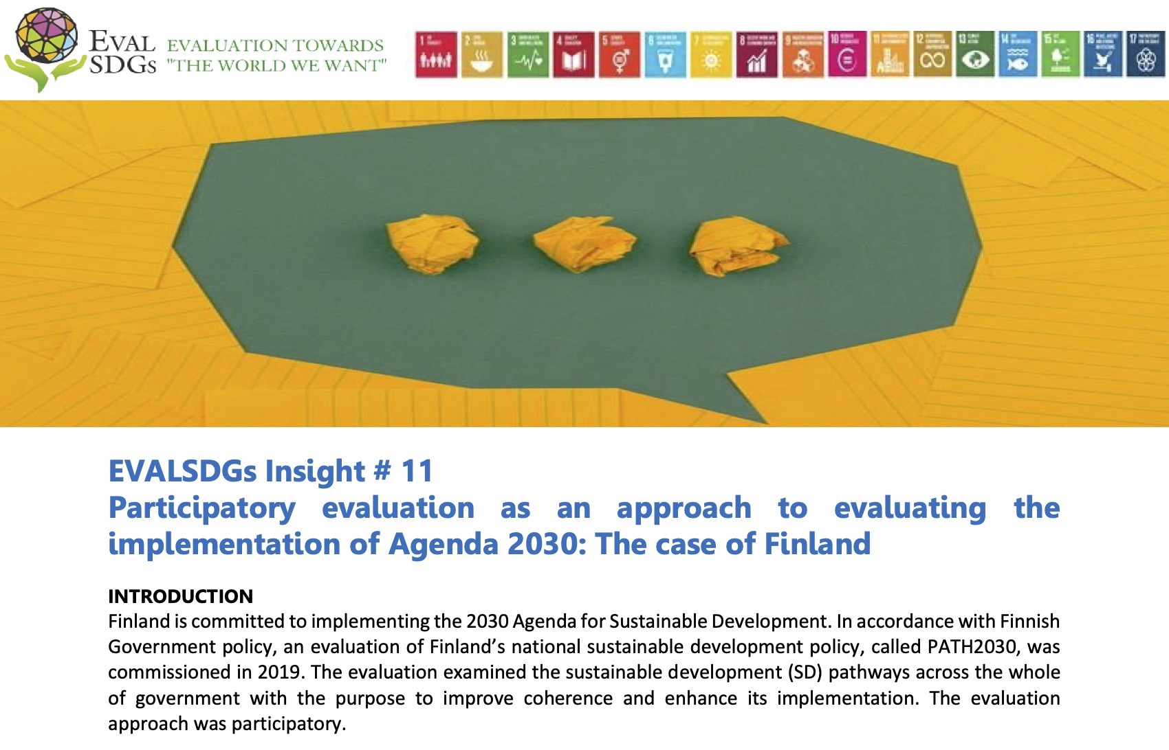 EVALSDGs Insight #11: Participatory evaluation as an approach to evaluating the implementation of Agenda 2030: The case of Finland